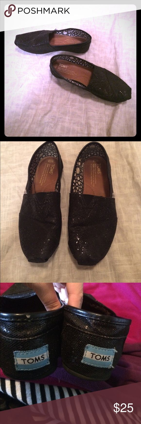 Black glitter TOMs size 7.5 Beautiful black glitter TOMs. In goood gently used condition. Only flaw is a small knick on the back as pictured! Otherwise good shape! Size women's 7.5 Toms Shoes Flats & Loafers