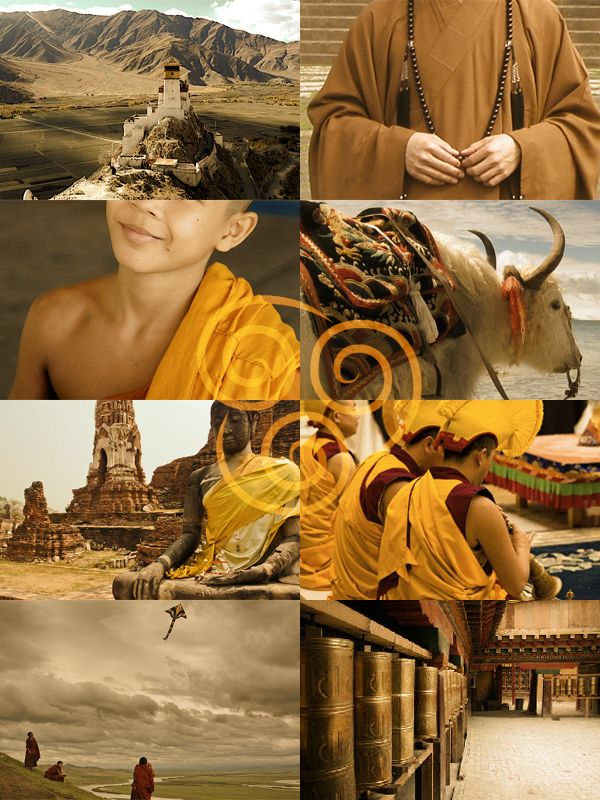 amuseoffyre: The cultures which inspired Avatar: The Last Airbender         Air Nomads - The Monasteries of Tibet         Water Tribe - The Inuit         Earth Kingdom - Imperial China         Fire Nation - Pre-Meiji Japan