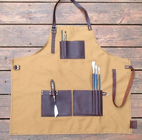 Artist's Apron painting apron canvas apron by ZenfishLeather