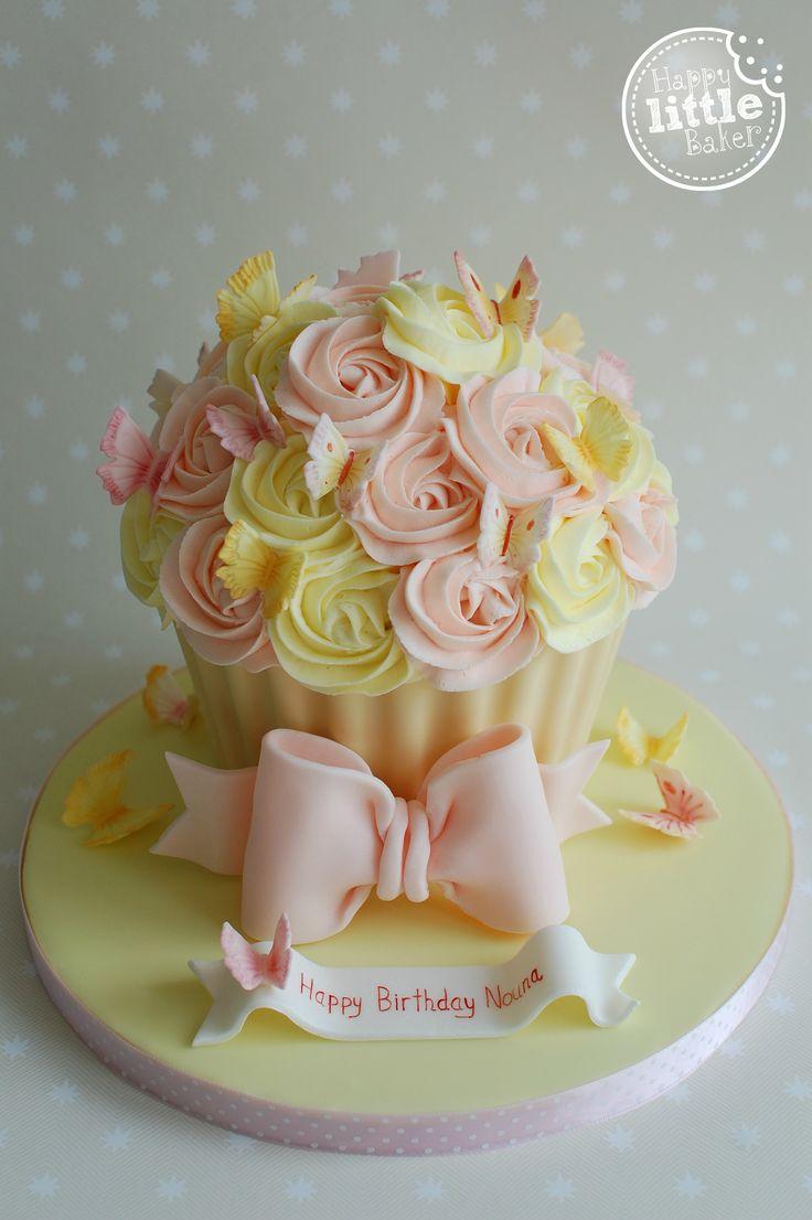 Birthday Giant Cupcake Cake. Lemon and peach butterfly themed giant cupcake.