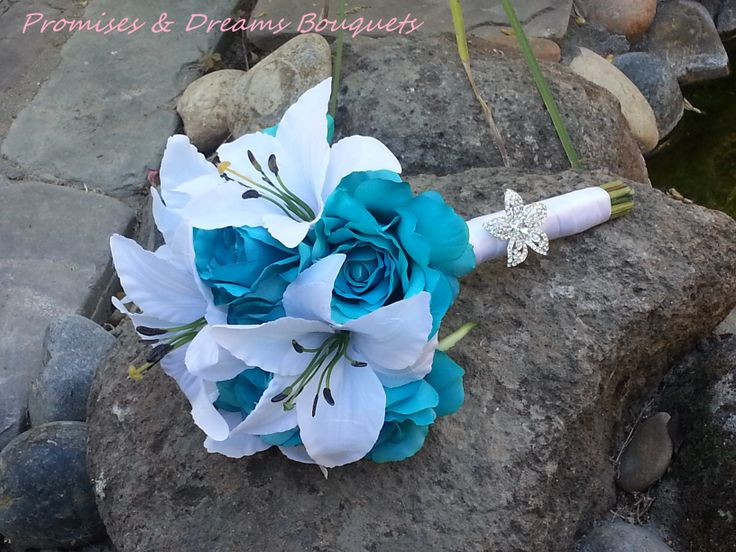 Tropical Turquoise Rose & Tiger Lily Bouquet - $75
