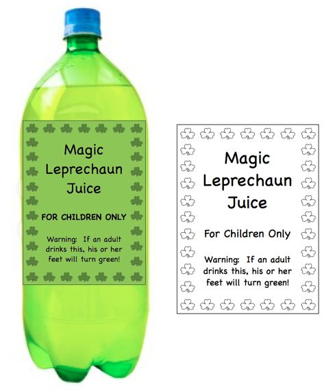 Magic Leprechaun Juice. Cute idea. Free templates.