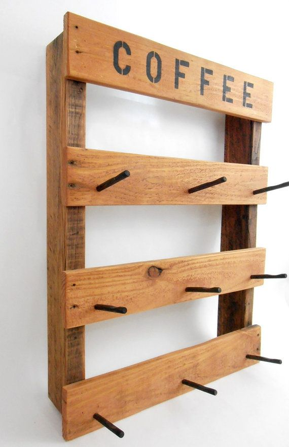 Coffee Mug Rack Rustic Coffee Mug Rack Pallet Wood Mug by WileWood
