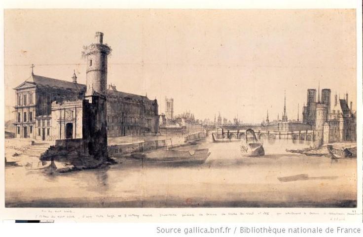 Paris, XVIIème siècle - Vue des rives de la Seine, prise de la Porte Neuve. Dessin d'Abraham Beerstraten.