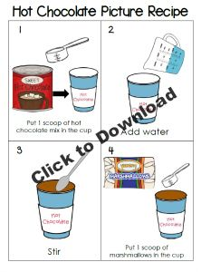 FREE Printable Hot Chocolate Picture Sequence Cards for Preschool and Kindergarten