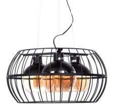 Industrialna LAMPA wisząca LDP 11765 - 3 Lumina Deco druciana OPRWA metalowa ZWIS loft klatka drut czarna