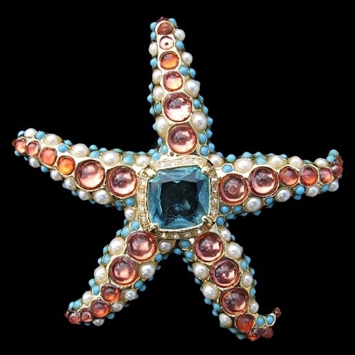 KJL Kenneth Jay Lane Starfish Brooch from Vintage Jewelry Girl! #vintagejewelry #KJL #KennethLane