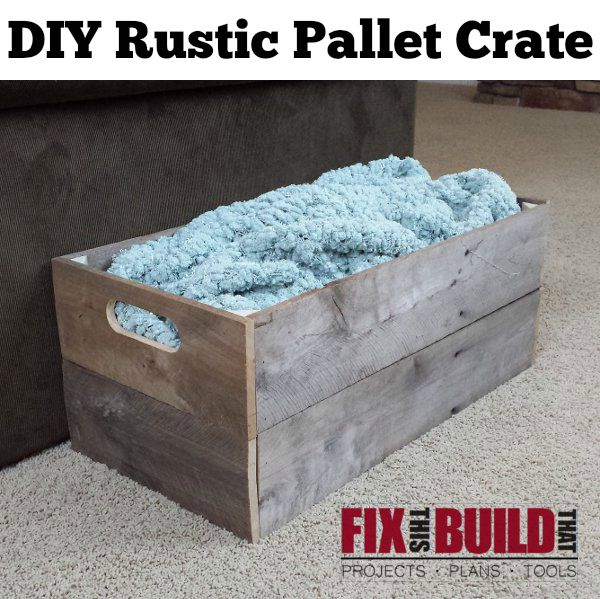 Make this DIY Rustic Pallet Crate in an afternoon from just one pallet. Go to FixThisBuildThat.com for a build walkthrough!