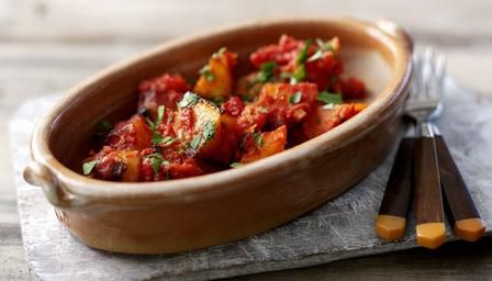 Patatas bravas: cubes of fried potato in a spicy tomato sauce