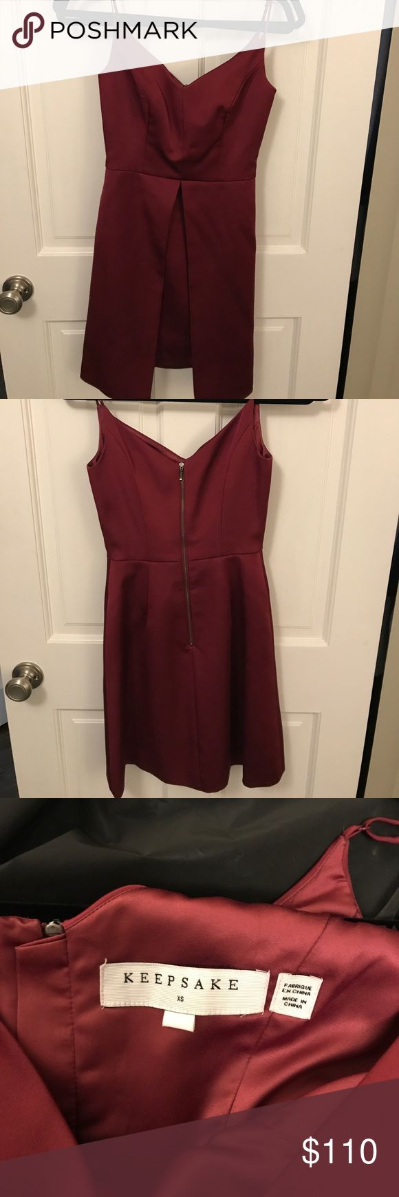 Keepsake, burgundy rehearsal dinner guest dress Beautiful Keepsake burgundy thick satin dress worn once for a rehearsal dinner! Size XS very unique, dress is a mini dress with an outer over laying skirt that is an A-line flare! KEEPSAKE the Label Dresses Wedding