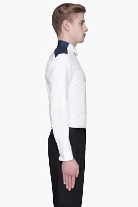 GIVENCHY - White and navy contrast dress shirt $325