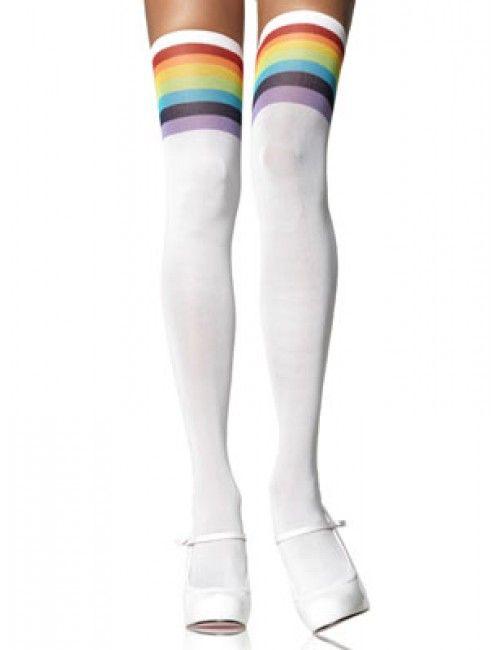 Kousen met regenboogrand - Jaren 80 kleding - Retro