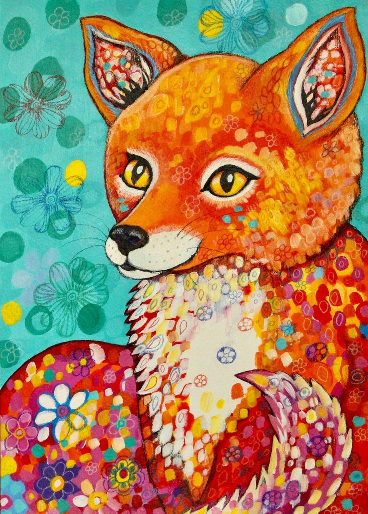 Flowery Fox - original painting by Frecklepop on Etsy https://www.etsy.com/nz/listing/532102797/flowery-fox-original-painting