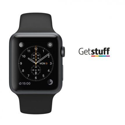 iWatch -  42mm Space Grey Aluminium Case with Black Sport BandApple Watch Sport features:Silver or space grey anodised aluminium caseIon-X glassRetina display with Force TouchComposite backSport Band with stainless steel pinDigital CrownHeart rate sensor, accelerometer and gyros
