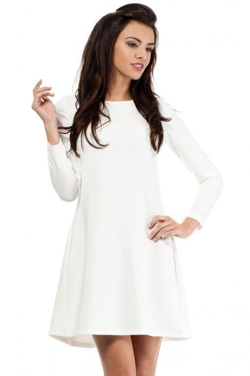 Krótka sukienka z długim rękawem ecru fashion4u.pl