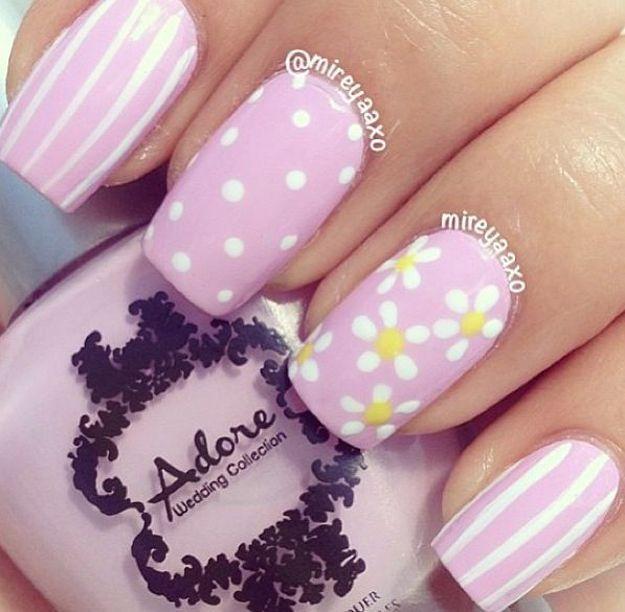 Colorful Floral Nails for Spring | Nail Art Tips by Makeup Tutorials at http://www.makeuptutorials.com/nail-designs-spring-nail-art