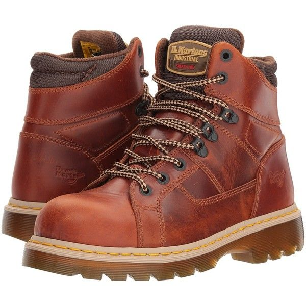 Dr. Martens Work Ironbridge Steel Toe Lace-to-Toe Boot (Tan) Work... ($145) ❤ liked on Polyvore featuring shoes, boots, ankle boots, laced up boots, work boots, short boots, laced up ankle boots and lace-up boots
