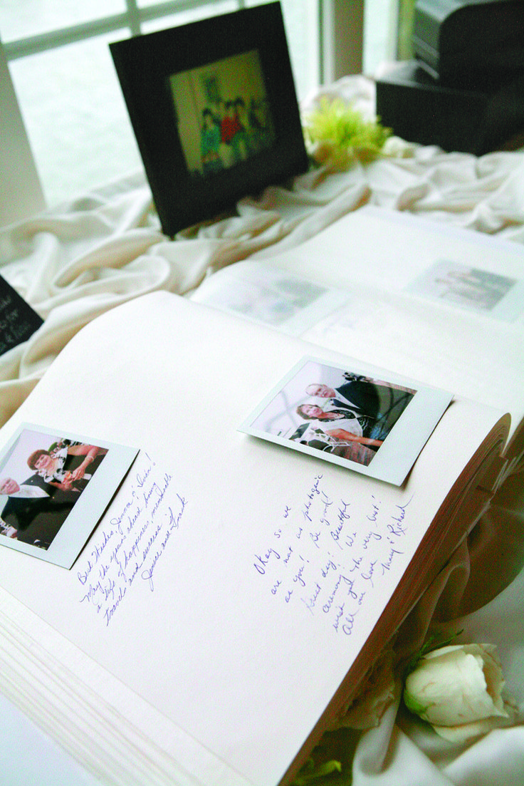 A Polaroid camera allowed guests to add their picture along with a note to the guestbook.