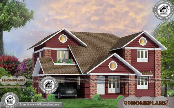 Manorama Veedu Plans With Double Story Traditional Sloping Roof Design Roof Design Courtyard House Plans House Plans With Pictures