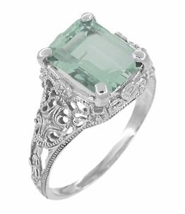 Edwardian Filigree Emerald Cut Prasiolite ( Green Amethyst ) Ring in Sterling Silver -LOVE this!