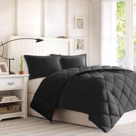 Comfort Classics Windsor Reversible Down Alternative 3M Scotchgard Comforter Mini Set, Black
