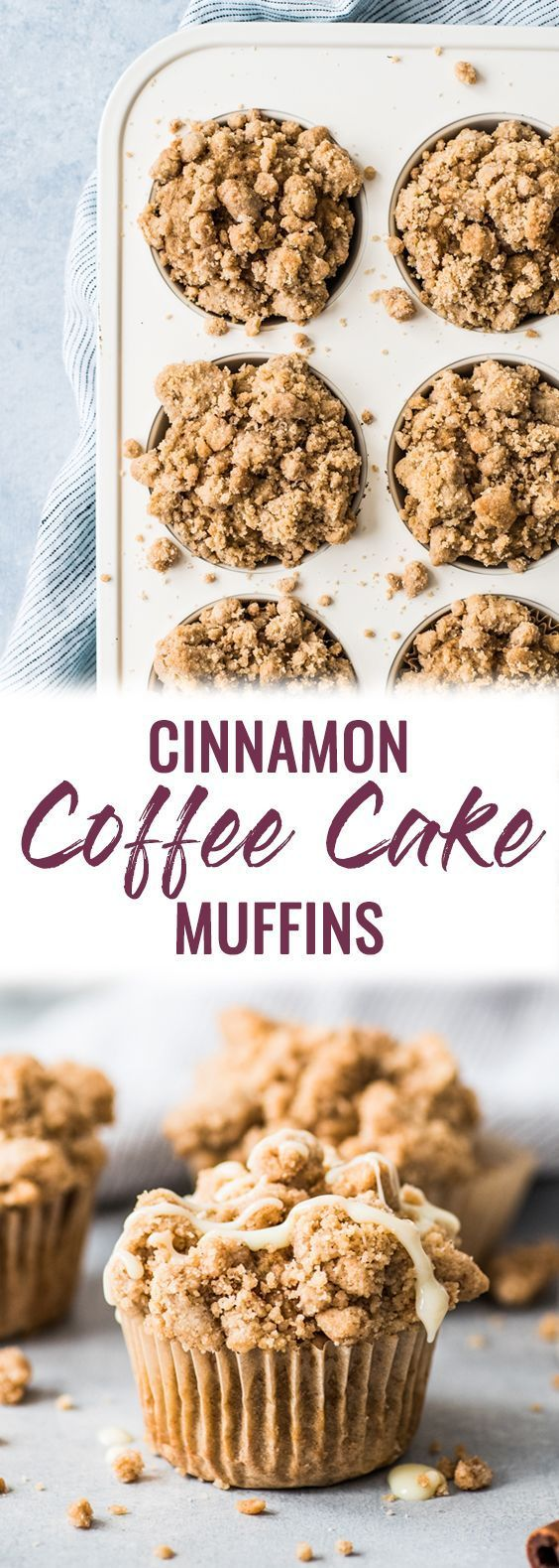 These cinnamon coffee cake muffins topped with a crunchy streusel topping are made with Greek yogurt for a healthier homemade treat! #coffeecake #muffins #greekyogurt