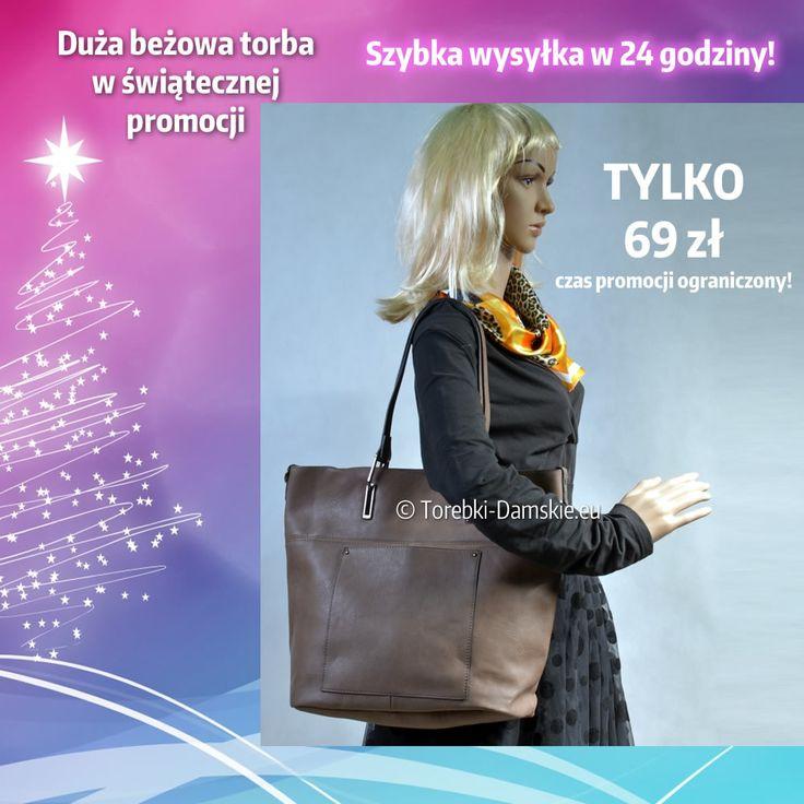 Nowy model damskiej torby w kolorze beżowym w promocyjnej cenie świątecznej. Czas obowiązywania promocyjnej ceny ograniczony!