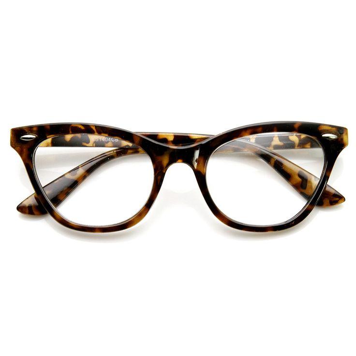 Womens Retro 1950's Fashion Clear Lens Cat Eye Glasses 9276   zeroUV