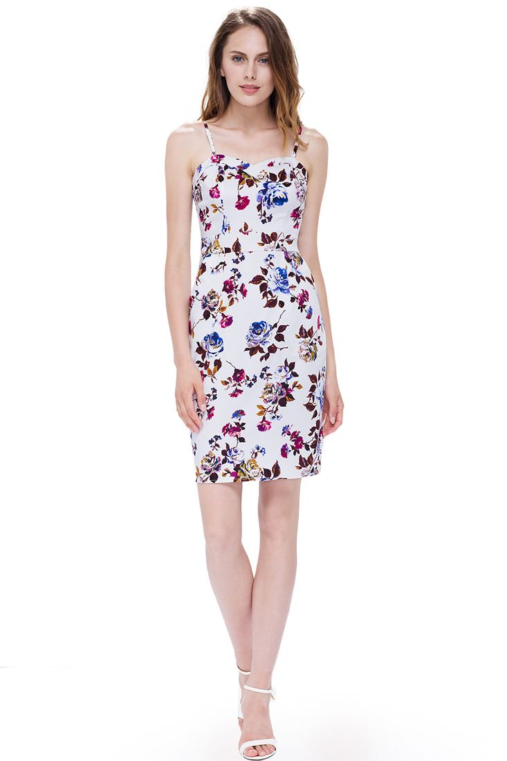 White Strappy Floral Short Pencil Dress | Strappy Floral Summer Dresses.