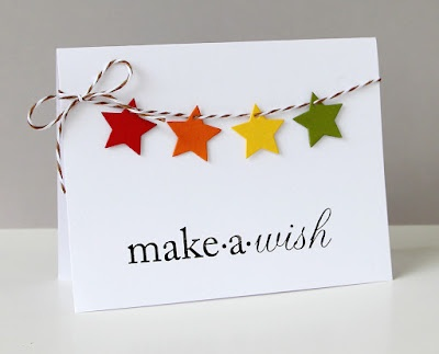 "use star punch with ""make a wish"" sentiment stamp - why have I never thought to do this?!"