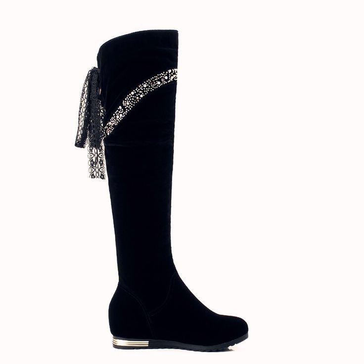 Vrouwen winter laarzen 2016 Dames mode hoogte toename laarzen schoenen knie hoge been suede lange laarzen merk designer Gratis shipping57
