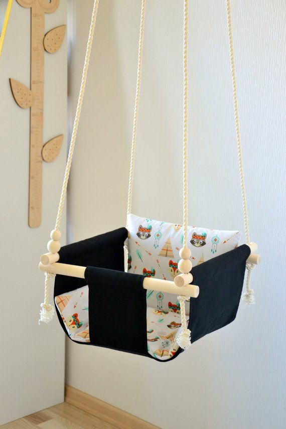 Baby And Toddler Swing Made From Fabric And Wood For Indoor And Outdoor Use Toddler Swing Diy Baby Stuff Kids Swing