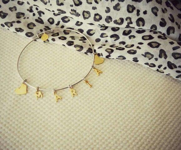 Pulseira em prata 925 banhada a ouro 18kl  #maria #personalizar #letras #roseblossom