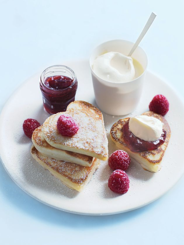 Heart-Shaped Pikelets with Jam and Cream // Mothers Day Recipes by Donna Hay