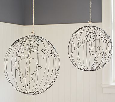 Wire Hanging Globe   $49 small   $59 large. Wire globe sculpture. This would be an easy DIY project. Kids room accessory.