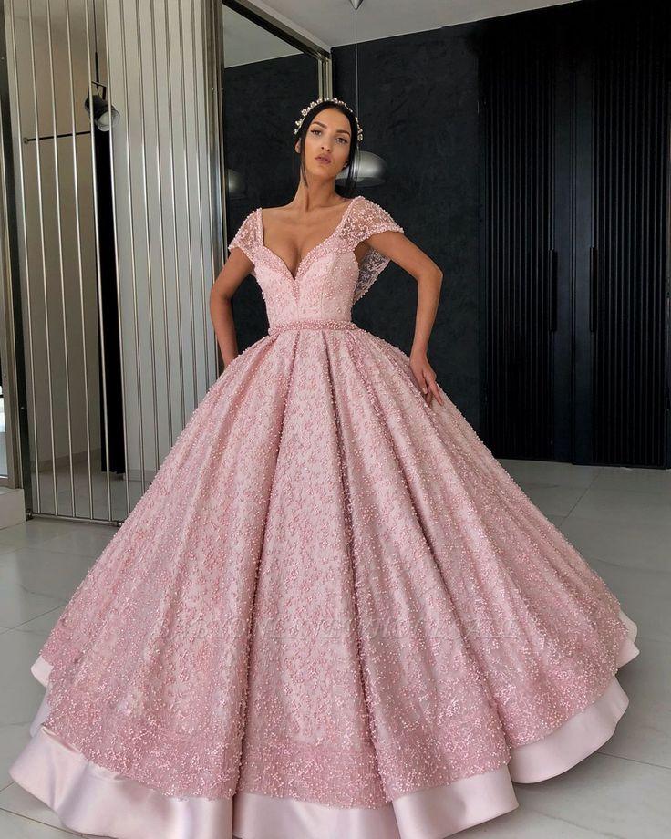 Elegante Abendkleider Spitze | Abendkleid lang Rosa ...