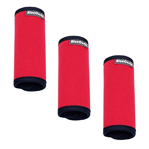 BlueCosto (Red 3-Pack) Neoprene Handle Wraps Travel Luggage Identifier Bags Suitcase Grips Accessories