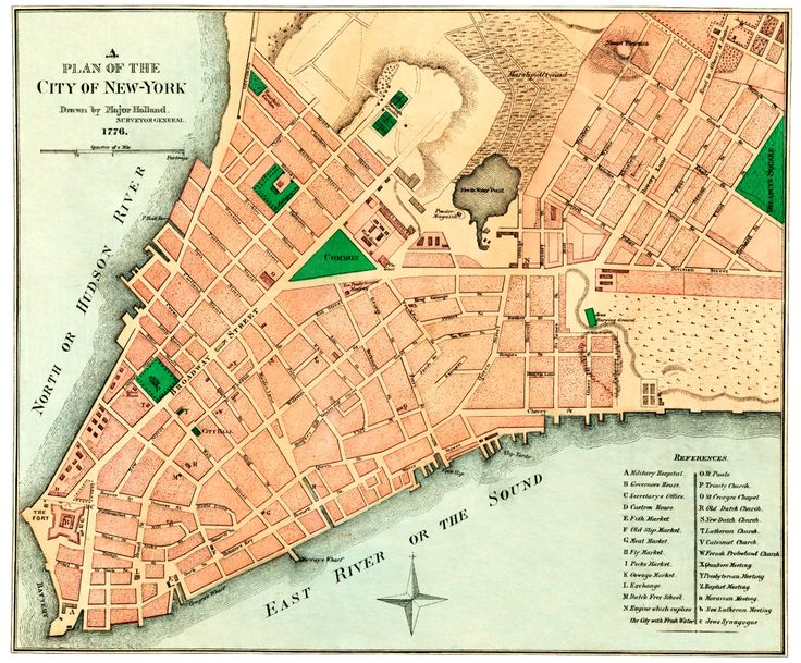 This is the original layout for New York City as it was designed in 1776. The map was created by Samuel Holland, a Royal Engineer and first Surveyor General of British North America.