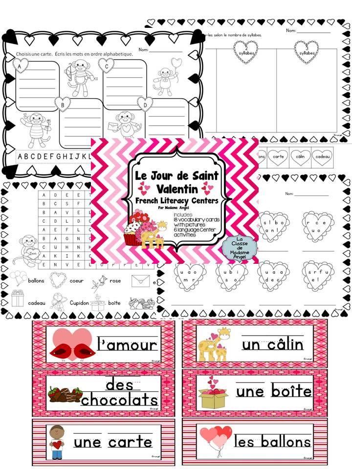 Valentine Literacy Centers in French!   Includes vocabulary cards!  Les Activités pour le Jour de Saint Valentin!
