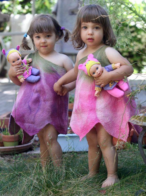 Felted girl tulip flower dress pink baby toddler girl dress,flower dress,fancy dress,Halloween costume,designer art to wear,flower costume