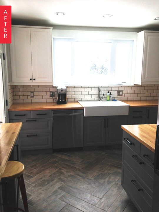 pretty much spot on: grey cabinets, sink, light upper cabinets, wooden counter