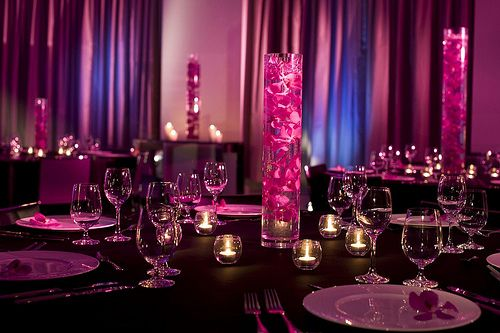 petals in glass cylinder. #decor #party #wedding
