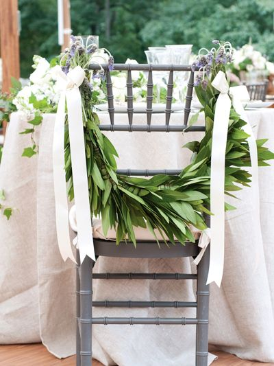 unexpected flower ideas.   Whether you want to distinguish your own chairs or a few VIP guest chairs at the reception, flowers are an obvious way to go. But mixed blooms with loads of leaves can feel extra romantic.    Read more: 41 Unexpected Flower Ideas http://wedding.theknot.com/wedding-planning/wedding-flowers/articles/41-unique-wedding-flower-ideas.aspx?page=2#ixzz2JrviTZgo