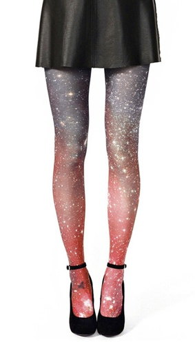 Galaxy tights!  I like the sparkliness of these tights, but not so much the colour changing at the knees.  A solid colour would be nice!