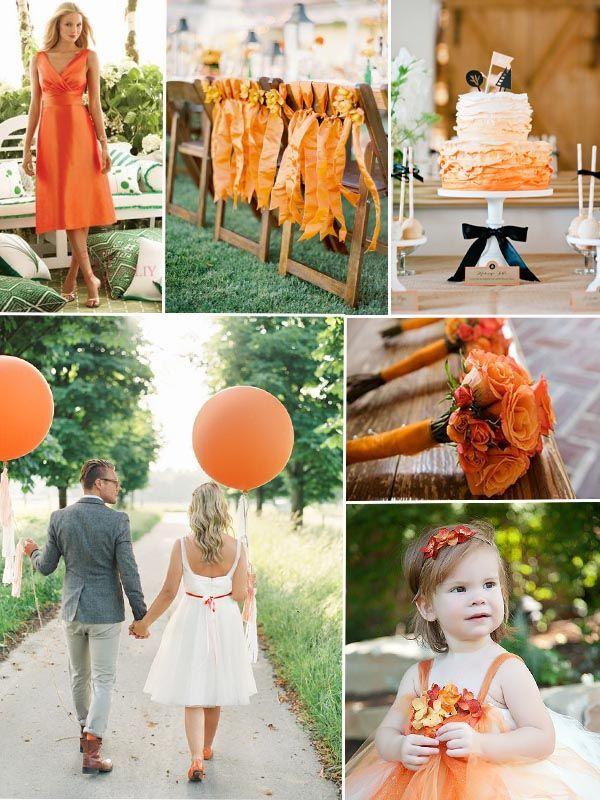 Orange Hochzeit 2014 goldene Hochzeit Tisch Dekoration Brautkleider Brautstrauße Herbst 2014 Hochzeit Farbe Trends