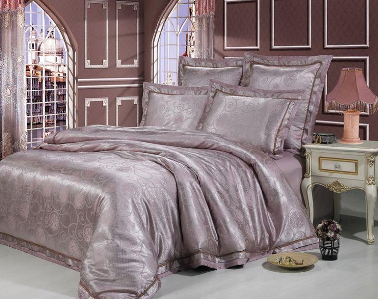 Роскошное шелковое постельное белье, жаккардовое, жаккардовый шелк, Kingsilk арт. sm-25.  Темно-лилового, фиолетового цвета. Размеры, описание, характеристики, низкие цены, скидки, недорого, доставка.