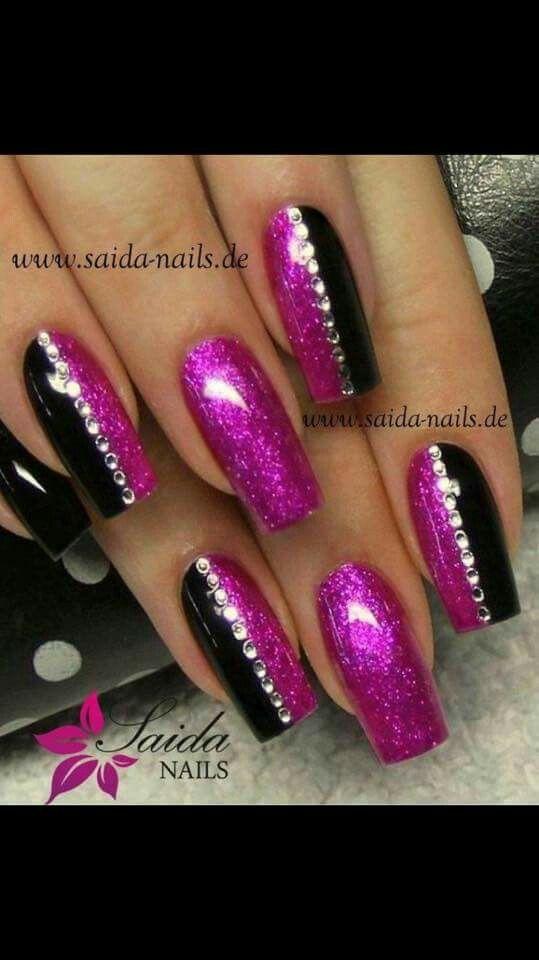 Fucsia glitter nero strass