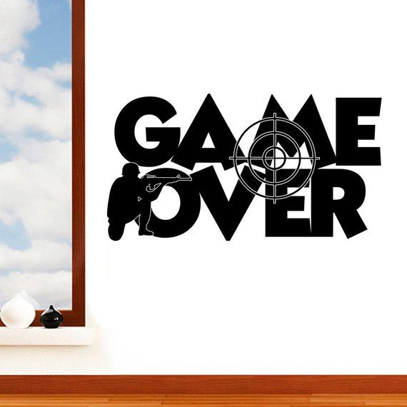sniper game over target - boys computer gaming quote art vinyl mural