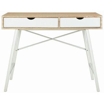 Bureau eiken/ wit met metalen onderstel | Bureaus | Bureaus & bureaustoelen | Meubelen | KARWEI