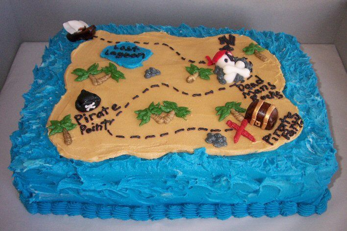 Pirate Treasure Map Cake - Made for a little boy who loves Jack Sparrow